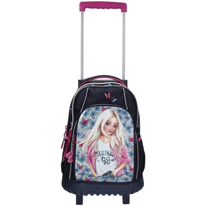 Depesche 11178 TOPModel Schulrucksack Trolley für Mädchen, ca. 50 x 34 x 24 cm groß, 28 Liter und 2 kg leicht, mit Zwei Rollen und Teleskopgriff, bunt