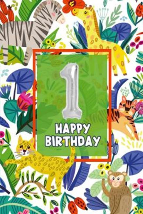 Depesche Zahlengeburtstagskarte mit Ballons 001 zum 1. Geburtstag  Zahlen-Geburtstagskarten mit zwei Folienballons
