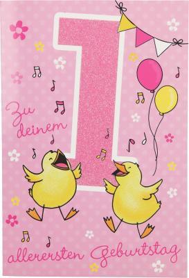 Depesche Zahlenkarten mit Musik Zu deinem allerersten Geburtstag - rosa