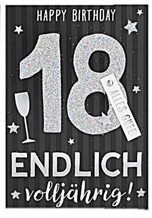 100% Glitzer Geburtstagskarte Anlasskarte Klappkarte 10496-002 18 - Happy Birthday Endlich volljährig!