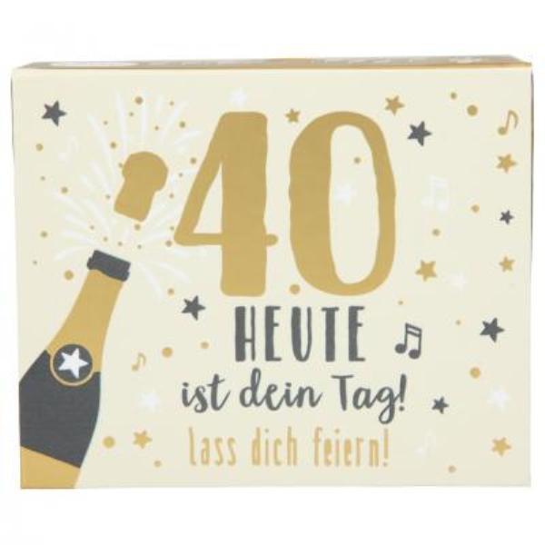 WUNSCHERFÜLLER Soundboxen Zahlengeburtstage 1 Stück - 40 Heute ist dein Tag! lass Dich feiern! zum 40. Geburtstag