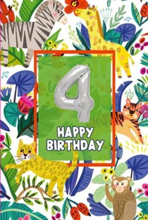 Depesche Zahlengeburtstagskarte mit Ballons 004 zum 4. Geburtstag  Zahlen-Geburtstagskarten mit zwei Folienballons