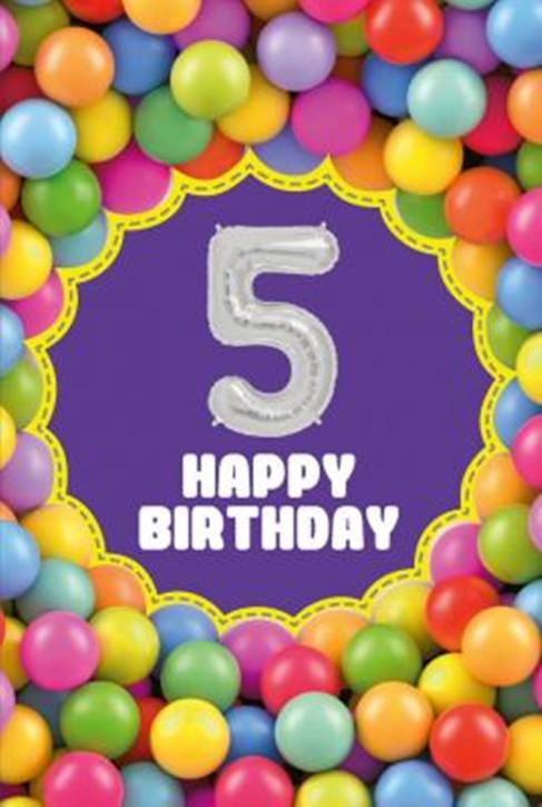 Depesche Zahlengeburtstagskarte mit Ballons 005 zum 5. Geburtstag  Zahlen-Geburtstagskarten mit zwei Folienballons