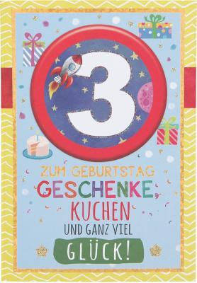 Originelle Klappkarte mit Zahlen Geburtstagskarte Zahlenmotiv zum   3.Geburtstag