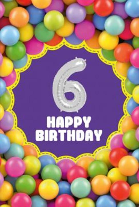 Depesche Zahlengeburtstagskarte mit Ballons 006 zum 6. Geburtstag  Zahlen-Geburtstagskarten mit zwei Folienballons
