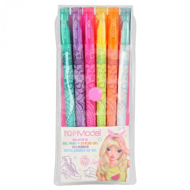 Depesche 7938 TOPModel - Neon-Gelstifte, Set mit 6 Stiften in Blau, Lila, Pink, Gelb, Orange und Weiß, zum Schreiben auch auf dunklem Papier