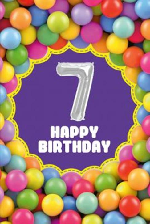 Depesche Zahlengeburtstagskarte mit Ballons 007 zum 7. Geburtstag  Zahlen-Geburtstagskarten mit zwei Folienballons