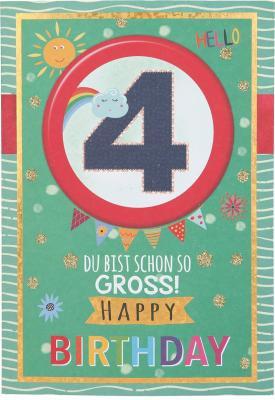 Originelle Klappkarte mit Zahlen Geburtstagskarte Zahlenmotiv zum 4.Geburtstag