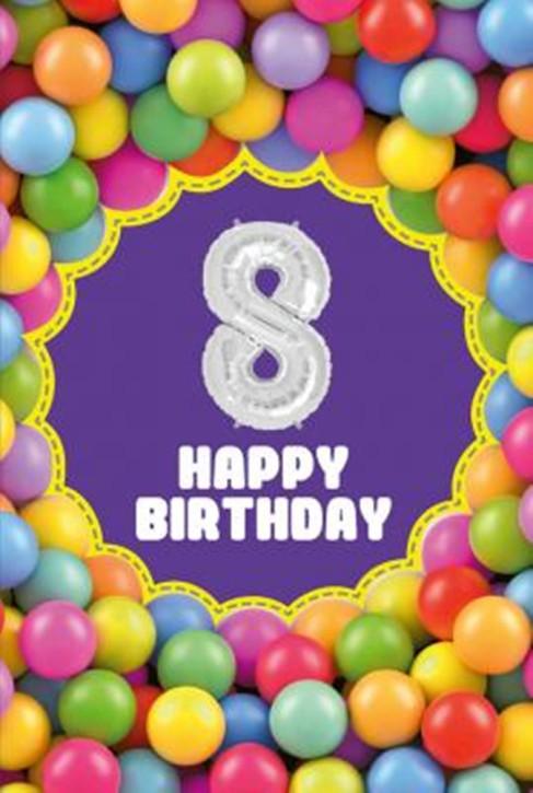Depesche Zahlengeburtstagskarte mit Ballons 008 zum 8. Geburtstag  Zahlen-Geburtstagskarten mit zwei Folienballons