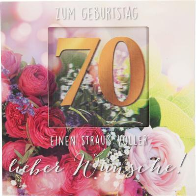 Geburtstagskarte Klappkarte 3D mit Musik & Licht Zum Geburtstag 70 Einen Strauß voller...