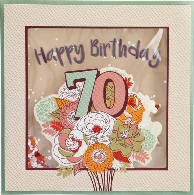 Konfetticards Klappkarten mit Konfetti 009- 70 Happy Birthday