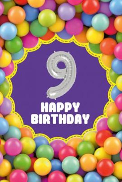 Depesche Zahlengeburtstagskarte mit Ballons 009 zum 9. Geburtstag  Zahlen-Geburtstagskarten mit zwei Folienballons
