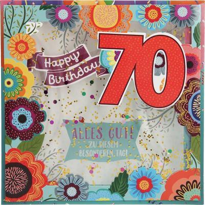 Konfetticards Klappkarten mit Konfetti 010-  Happy Birthday 70 Alles Gute zu...