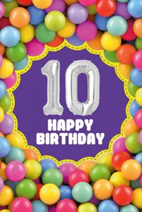 Depesche Zahlengeburtstagskarte mit Ballons 010 zum 10. Geburtstag  Zahlen-Geburtstagskarten mit zwei Folienballons