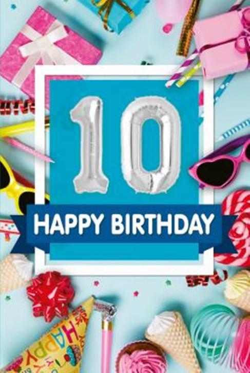 Depesche Zahlengeburtstagskarte mit Ballons 011 zum 10. Geburtstag  Zahlen-Geburtstagskarten mit zwei Folienballons