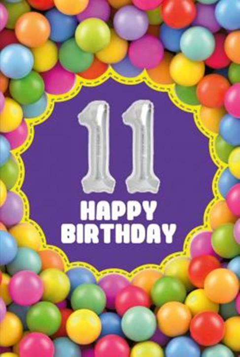 Depesche Zahlengeburtstagskarte mit Ballons 012 zum 11. Geburtstag  Zahlen-Geburtstagskarten mit zwei Folienballons