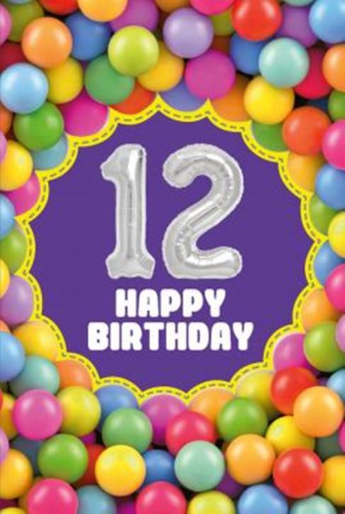 Depesche Zahlengeburtstagskarte mit Ballons 013 zum 12. Geburtstag  Zahlen-Geburtstagskarten mit zwei Folienballons