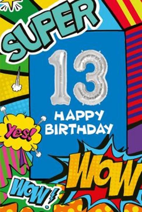 Depesche Zahlengeburtstagskarte mit Ballons 014 zum 13. Geburtstag  Zahlen-Geburtstagskarten mit zwei Folienballons