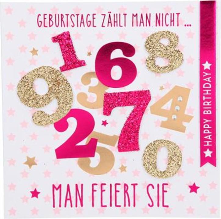 Glamour Glitzer Grußkarte Klappkarte Geburtstagskarte mit Umschlag quadratisch Motiv 014