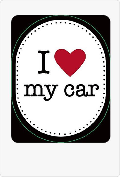 Schlüsselanhänger mit Spruch I (heart) my car