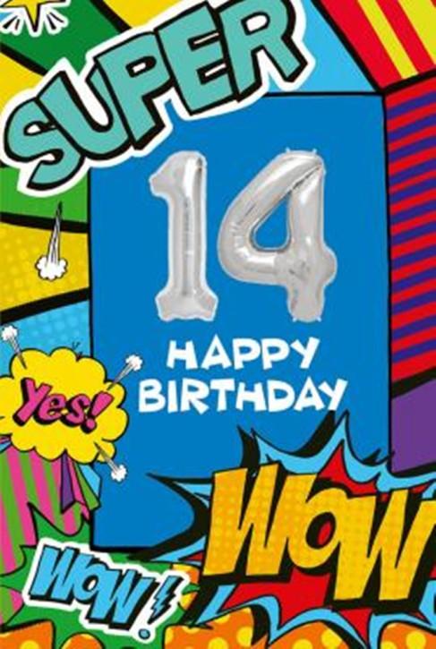 Depesche Zahlengeburtstagskarte mit Ballons 015 zum 14. Geburtstag  Zahlen-Geburtstagskarten mit zwei Folienballons