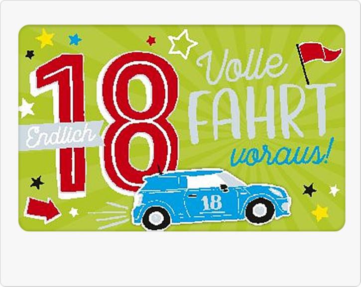 Geburtstagsteelicht in kleiner Box Endlich 18 Volle Fahrt voraus!
