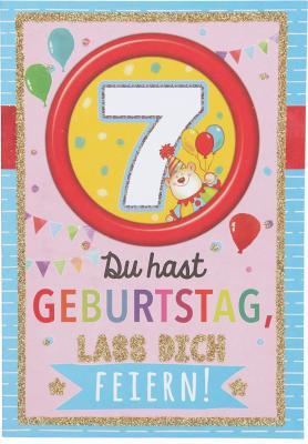 Originelle Klappkarte mit Zahlen Geburtstagskarte Zahlenmotiv zum 7. Geburtstag