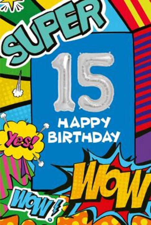 Depesche Zahlengeburtstagskarte mit Ballons 016 zum 15. Geburtstag  Zahlen-Geburtstagskarten mit zwei Folienballons