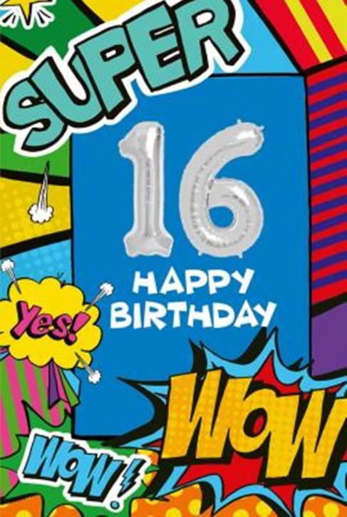 Depesche Zahlengeburtstagskarte mit Ballons 017 zum 16. Geburtstag  Zahlen-Geburtstagskarten mit zwei Folienballons