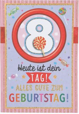 Originelle Klappkarte mit Zahlen Geburtstagskarte Zahlenmotiv zum 8.Geburtstag