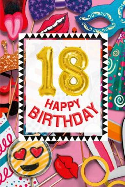 Depesche Zahlengeburtstagskarte mit Ballons 018 zum 18. Geburtstag  Zahlen-Geburtstagskarten mit zwei Folienballons