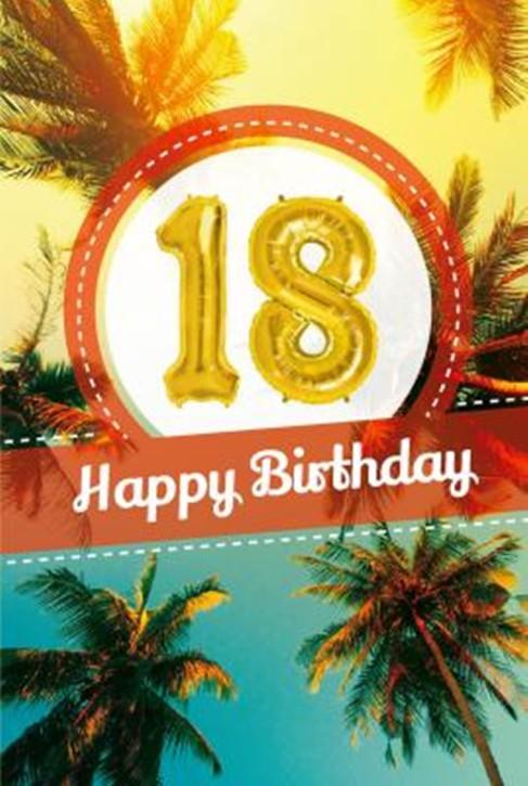 Depesche Zahlengeburtstagskarte mit Ballons 019 zum 18. Geburtstag  Zahlen-Geburtstagskarten mit zwei Folienballons