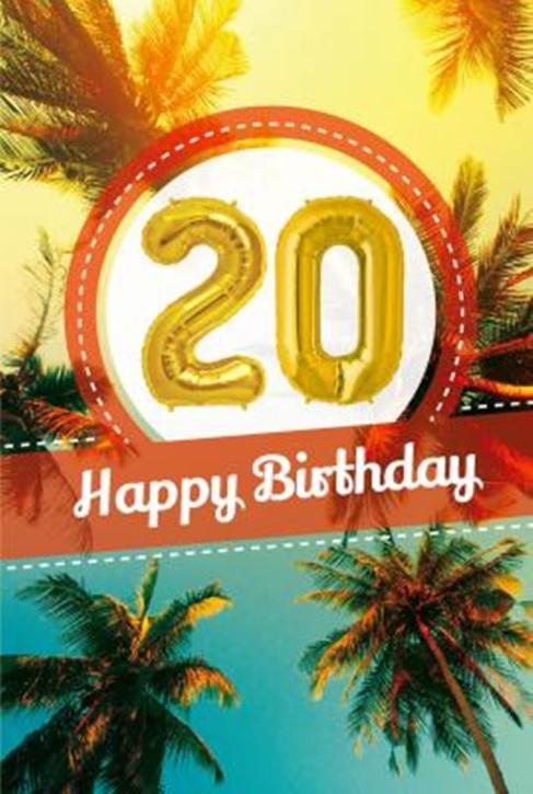 Depesche Zahlengeburtstagskarte mit Ballons 020 zum 20. Geburtstag  Zahlen-Geburtstagskarten mit zwei Folienballons