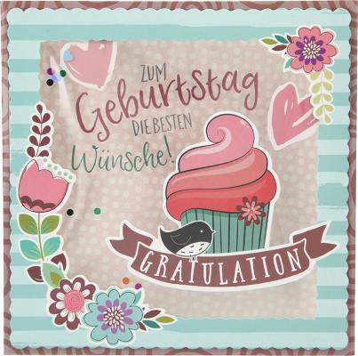 Konfetticards Klappkarten mit Konfetti 021 - Zum Geburtstag die besten Wünsche! ...