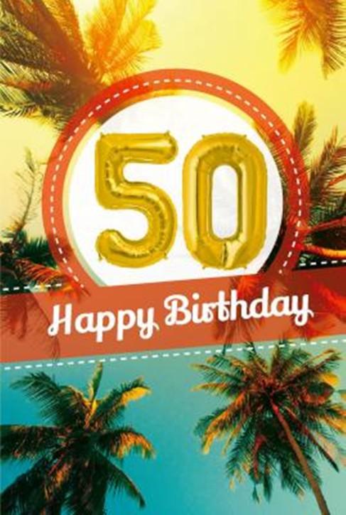 Depesche Zahlengeburtstagskarte mit Ballons 023 zum 50. Geburtstag  Zahlen-Geburtstagskarten mit zwei Folienballons