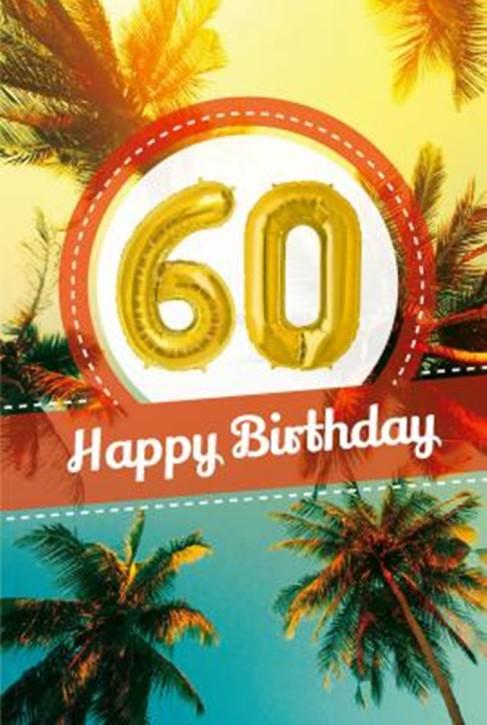 Depesche Zahlengeburtstagskarte mit Ballons 024 zum 60. Geburtstag  Zahlen-Geburtstagskarten mit zwei Folienballons