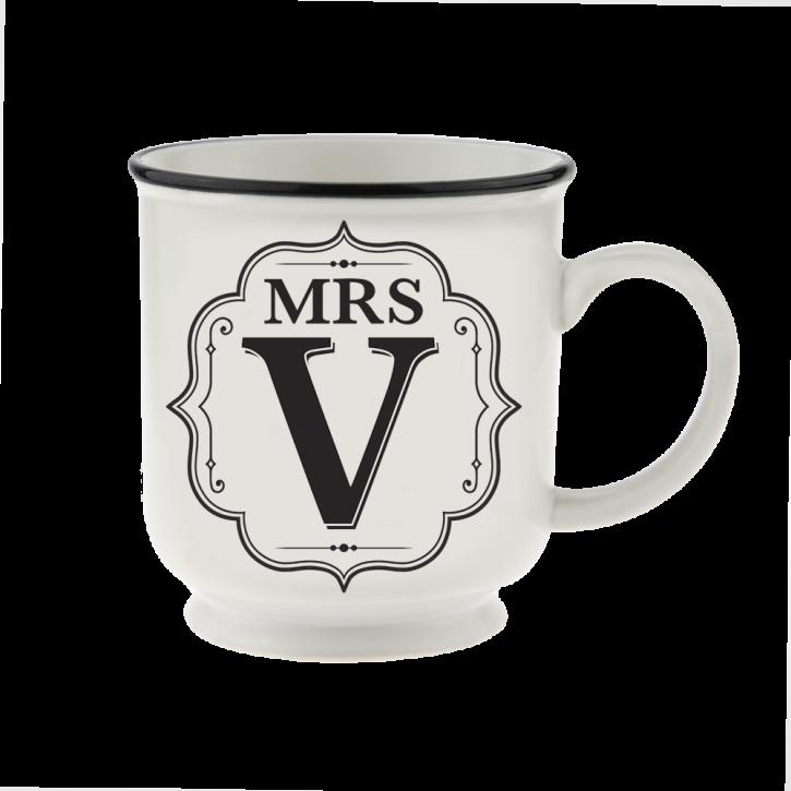 H&H Becher Mrs V- für Hochzeit, Jubiläum und Jahrestag