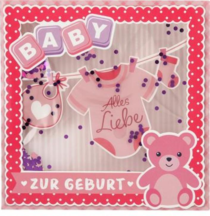 Konfetticards Klappkarten mit Konfetti 033 - Baby - Alles Liebe zur Geburt (rosa)