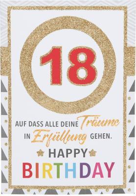 Originelle Klappkarte mit Zahlen Geburtstagskarte Zahlenmotiv zum 18.Geburtstag