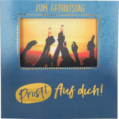 Geburtstagskarte Klappkarte 3D mit Musik & Licht Zum Geburtstag Prost! Auf dich!