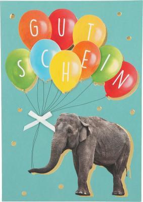 Depesche Klappkarten Bitte Laecheln - GUTSCHEIN - Elefant mit Ballons