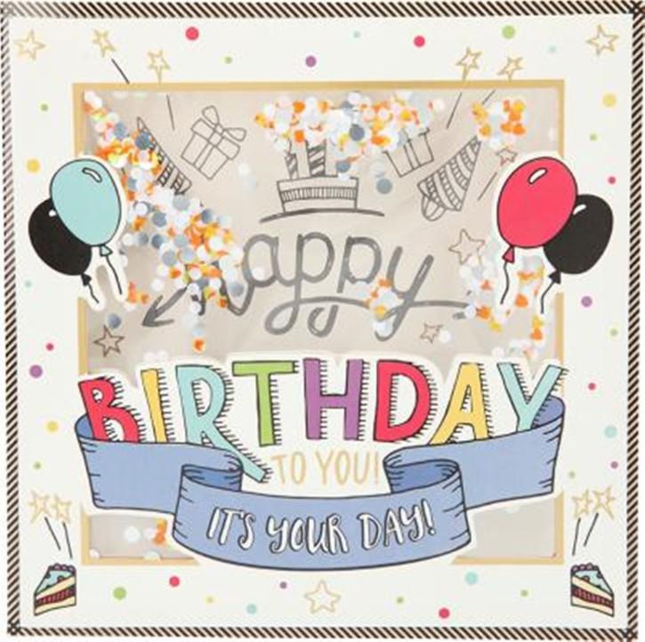 Konfetticards Klappkarten mit Konfetti 042 Happy Birthday to you. It's your day!