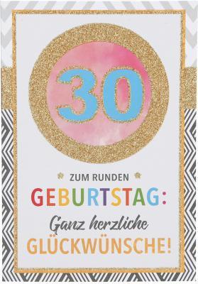 Originelle Klappkarte mit Zahlen Geburtstagskarte Zahlenmotiv zum 30. Geburtstag