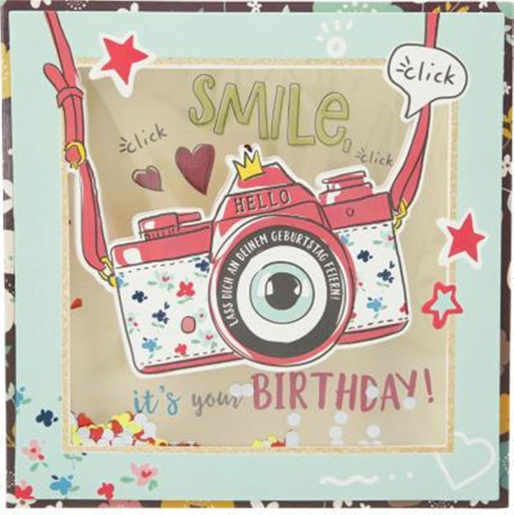 Konfetticards Klappkarten mit Konfetti 048 Smile, it's your birthday!
