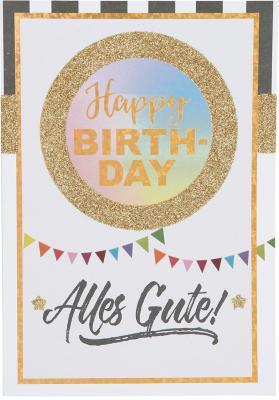 Originelle Klappkarte mit  Happy Birthday, Alles Gute!