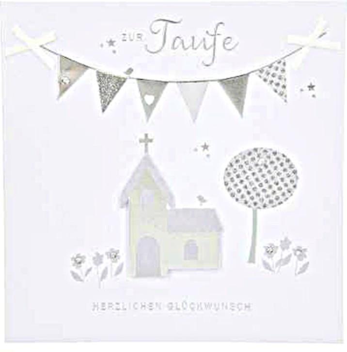 Glamour Glitzer Grußkarte Klappkarte mit Umschlag Zur Taufe herzlichen Glückwunsch quadratisch Motiv 052