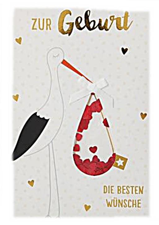 100% Glitzer Geburtstagskarte Anlasskarte Klappkarte10496-053: Zur Geburt