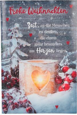 Weihnachtskarten mit Musik und Licht - Frohe Weihnachten Zeit, an die Menschen