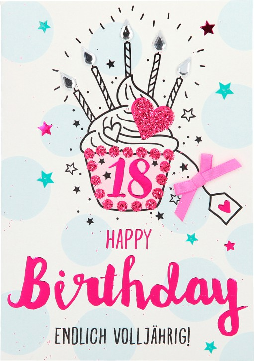100% Glitzer Geburtstagskarte Anlasskarte Klappkarte10496-001: 18 - Happy Birthday Endlich volljährig!