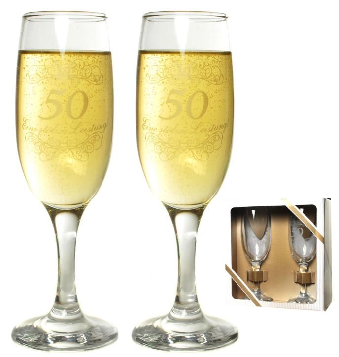 Sektglas-Set 50 zur Goldhochzeit
